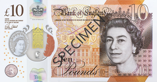 Front of a 10 pound note