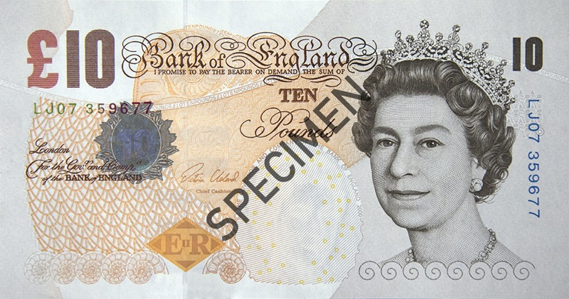 Image showing front of a paper ten pound note
