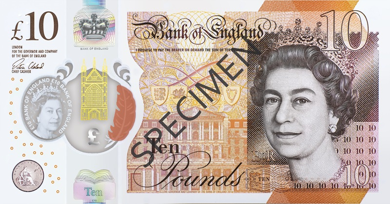 Front of polymer ten pound note