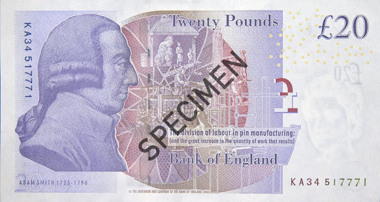 Back of twenty pound note