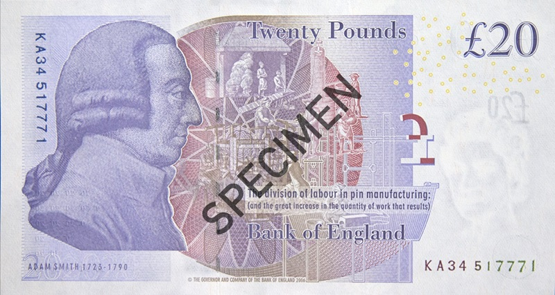 Back of paper twenty pound note; from the Bank of England website