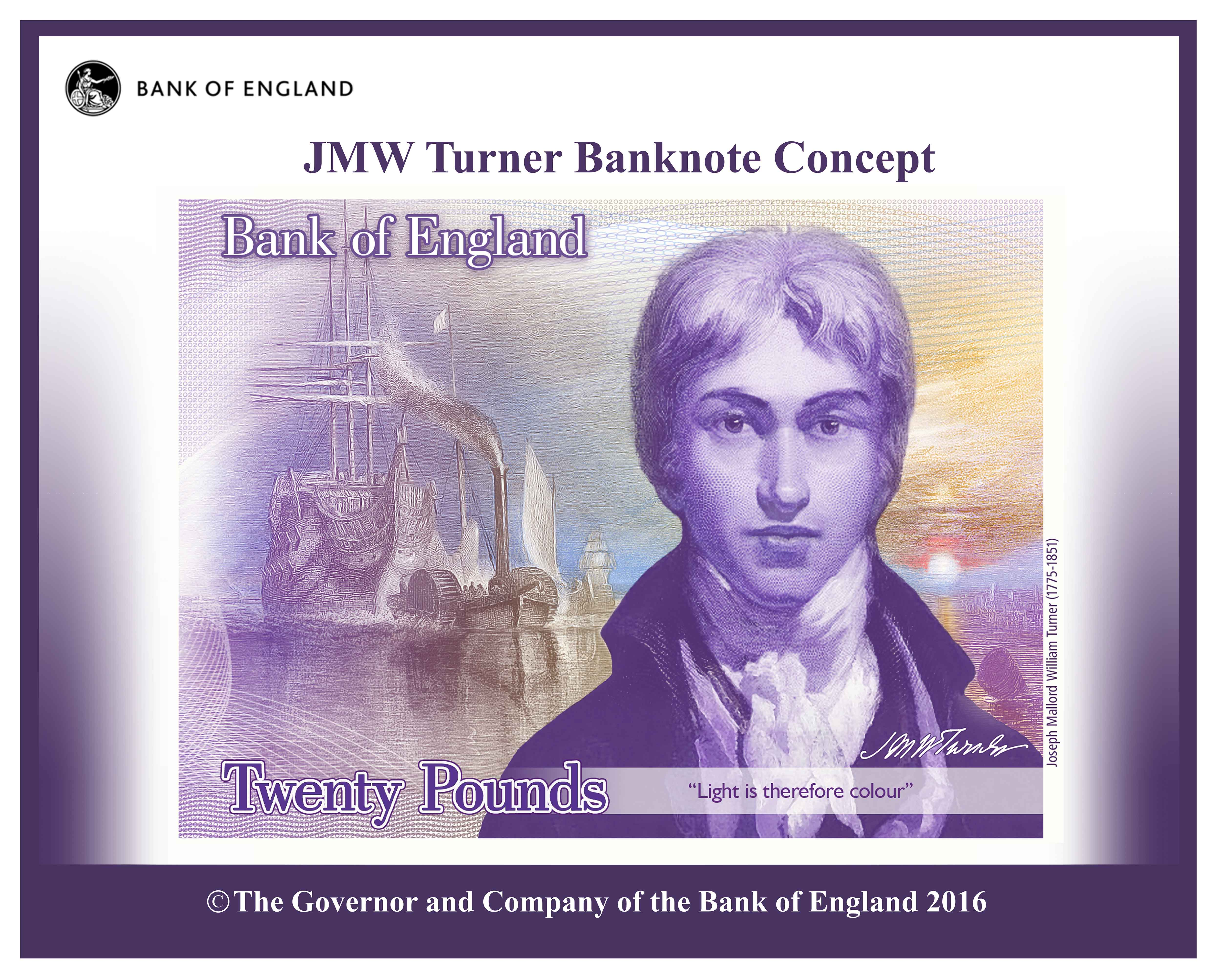 Concept image of the polymer twenty pound note