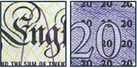 Raised print on the twenty pound note