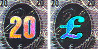 Holographic strip on the twenty pound note