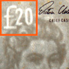 Watermark on the front and back of the twenty pound note