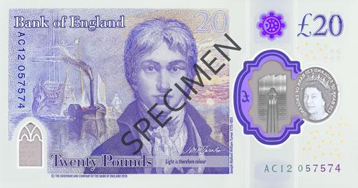 Polymer £20 note specimen back