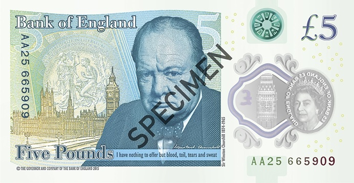 Back of five pound note
