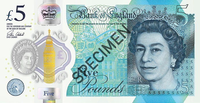Front of five pound note