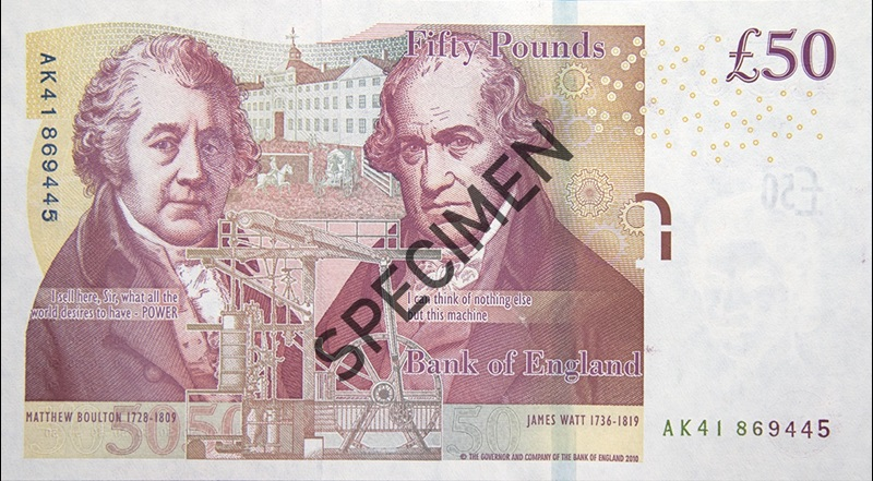 Back of fifty pound note; from the Bank of England website