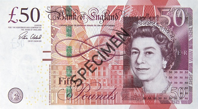 Front of fifty pound note