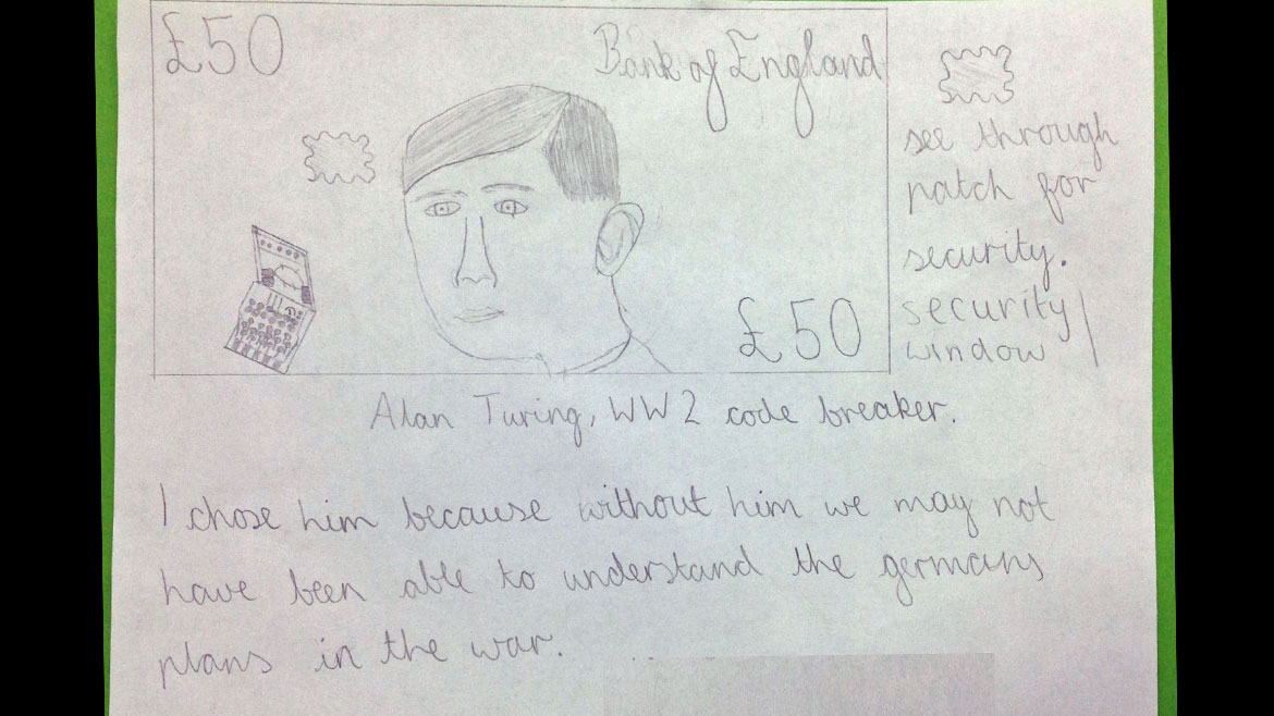£50 banknote design by The Manor Prep School