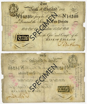 Front and back of note