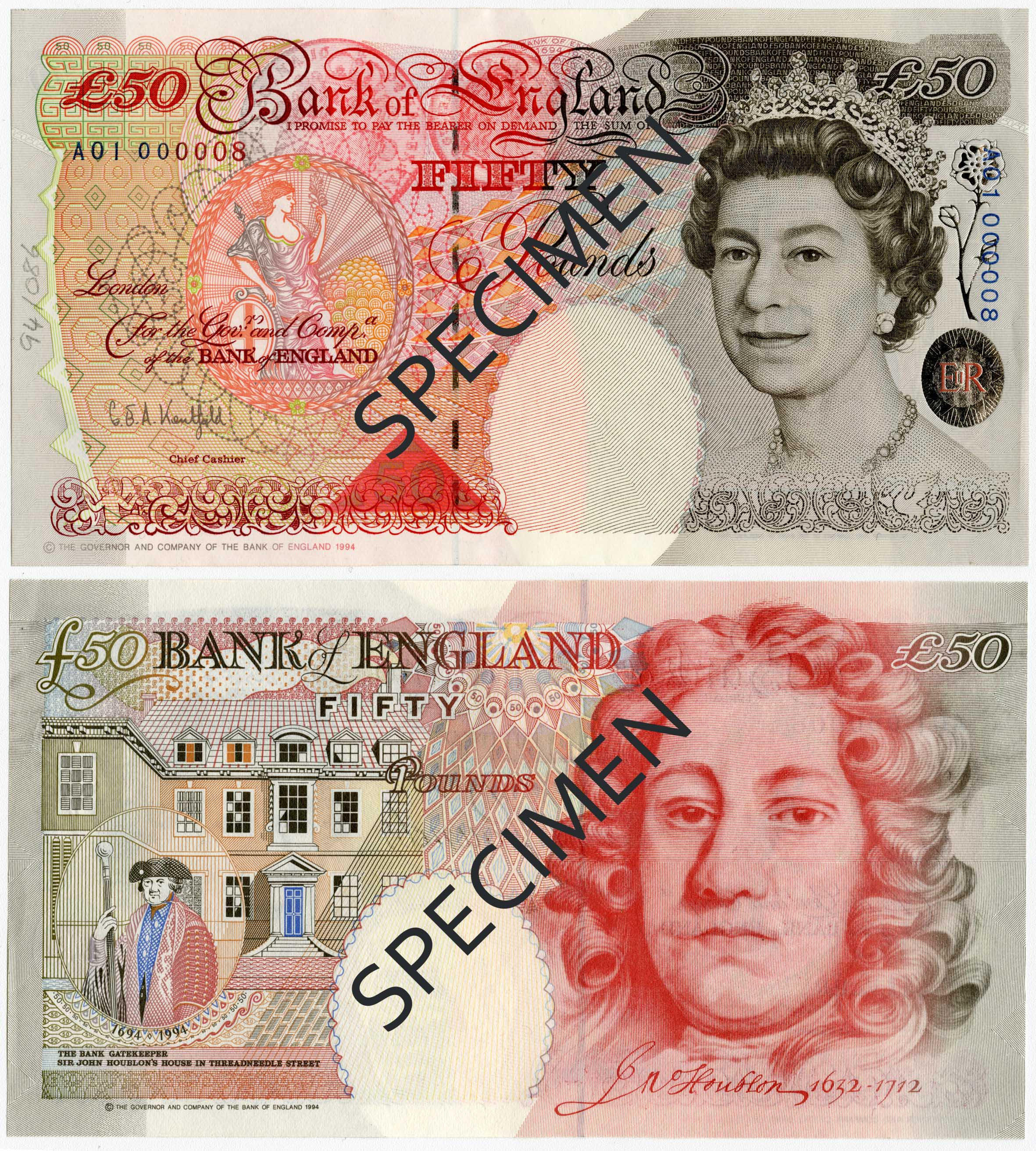 Withdrawn fifty pound note series E