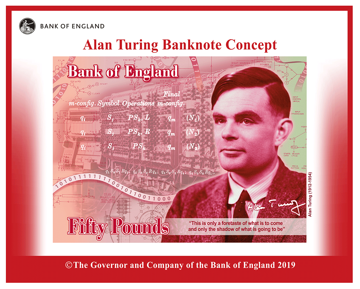 £50 banknote concept image featuring Alan Turing