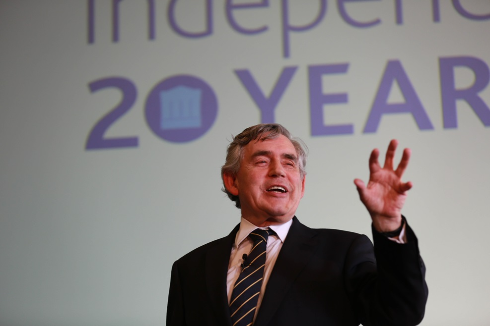 Gordon Brown presenting