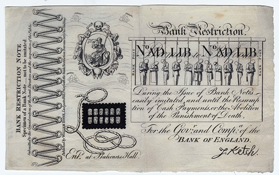 Bank Restriction Note, 1819. At this time, forgery of Bank of England notes was punishable by death.