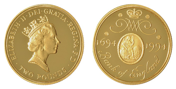 £2 coin issued by the Royal Mint to commemorate the Bank of England's tercentenary