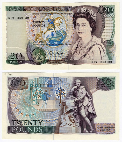 First pictorial note featuring William Shakespeare, issued in 1970
