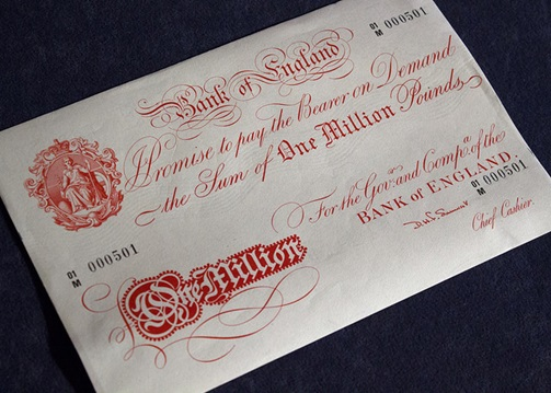 'Giant' banknote, with a value of £1 million