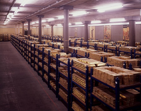 Inside one of the Bank of England gold vaults.