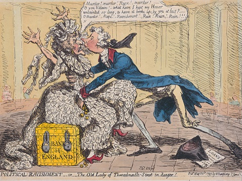 Political Ravishment or The Old Lady of Threadneedle Street in danger. By James Gillray. Published 22 May 1797.