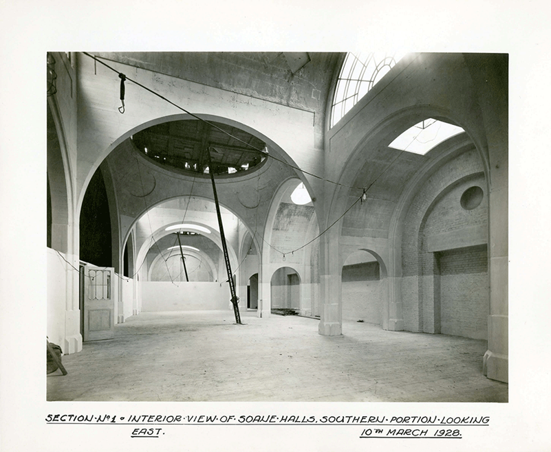 An interior shot of the Soane Hall looking eastwards taken in the early stages of the demolition and rebuilding work.