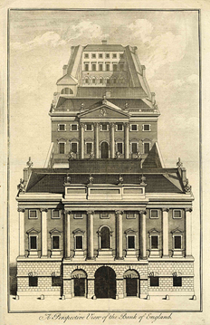 William Henry Toms, A Perspective View of the Bank of England as built by George Sampson 1734, eighteenth century, 0011 (ii)