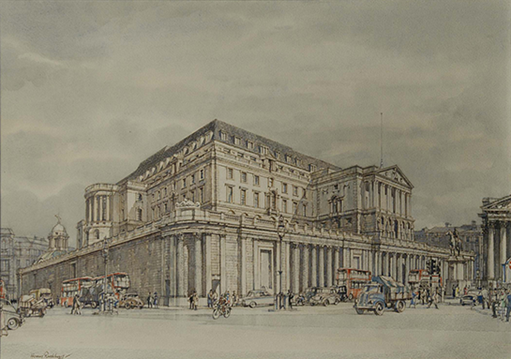 Henry Rushbury, The Bank from Mansion House, 1958, 0853