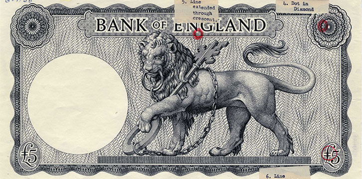 A guide sheet for £5 banknote secret marks