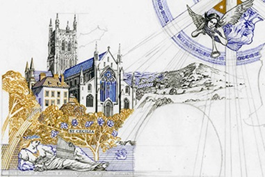 Drawing of St Cecilia and Worcester Cathedral for £20 banknote