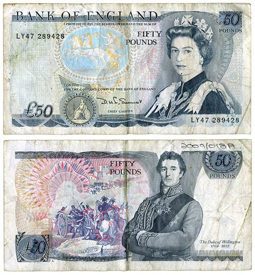 Bank of England/Unknown, altered banknote, issued between 1971 and 1991, 2009/013A