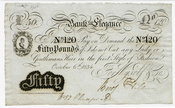 Unknown, imitation banknote from 'Bank of Elegance', 6 October 1834, 670/002