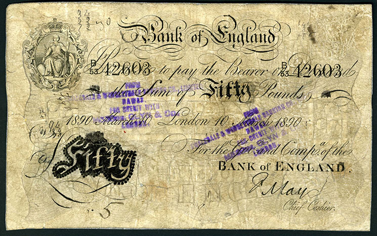 Bank of England/Unknown, altered banknote, 1890, E45