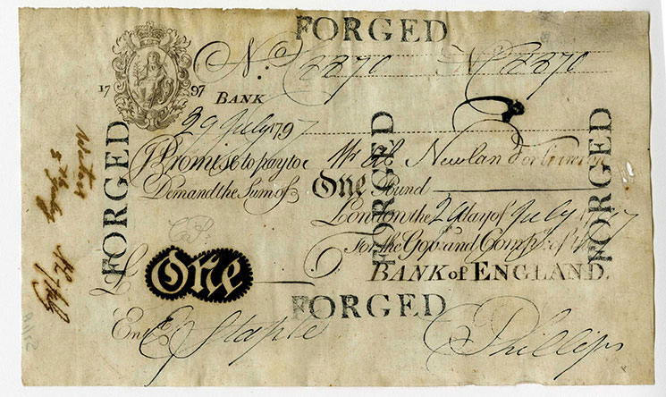 Unknown, counterfeit banknote, 19 July 1797, S7/001A