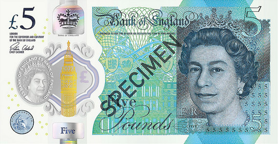 £5 polymer banknote, issued in 2016