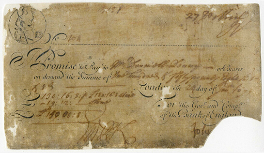 Bank of England, running cash note, 24 January 1699, I/008