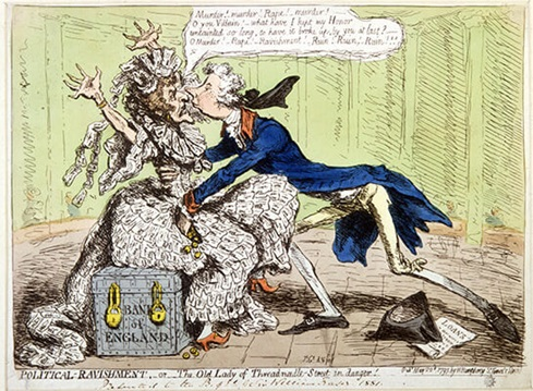 James Gillray, Political Ravishment: or, The Old Lady of Threadneedle Street in Danger, 1797, 1983/161