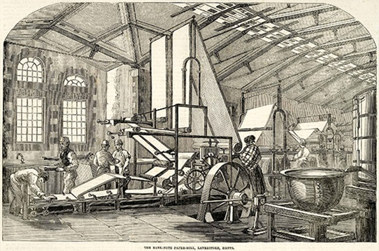 Unknown, 'The Bank-Note Paper Mill, Laverstoke, Hants', Illustrated London News, 30 December 1854, 0193