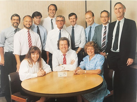 Banknote Development Team (Debbie Marriott is seated on the left), 1990.