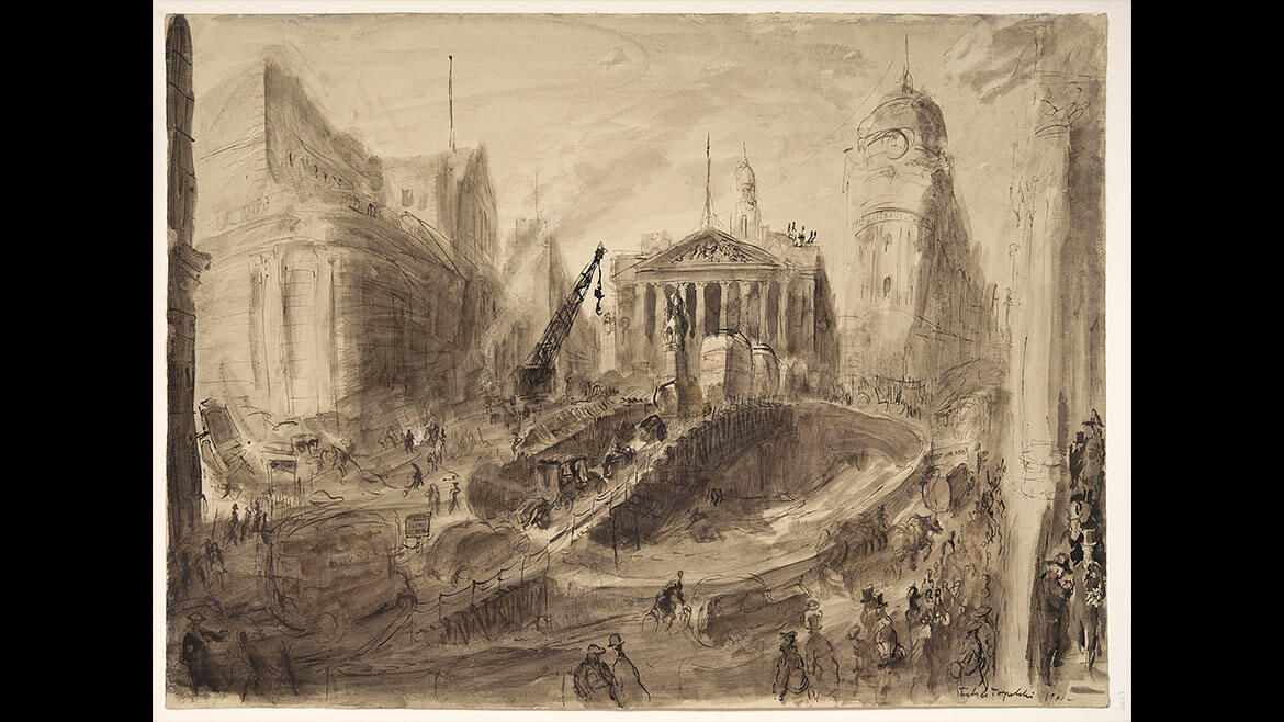 Feliks Topolski, War damage outside the Bank of England, January 1941