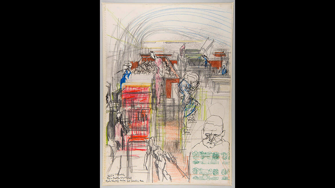 Feliks Topolski, Plate Printing Section and Counting Area, 1957