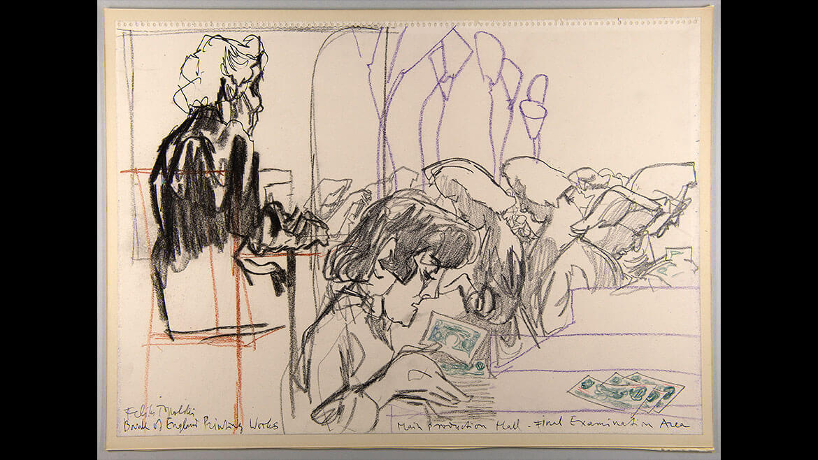 Feliks Topolski, Final Examination Area, 1957