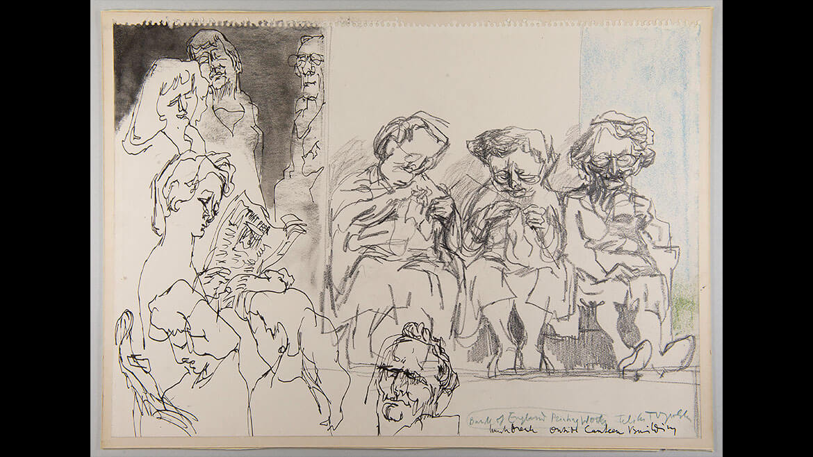 Feliks Topolski, Lunch break outside canteen, 1957