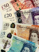 Our current banknotes: £5, £10, £20 and £50
