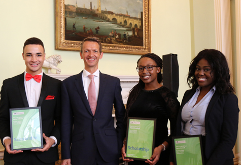 Andy Haldane with the winners of the Black African and African Caribbean scholarship programme
