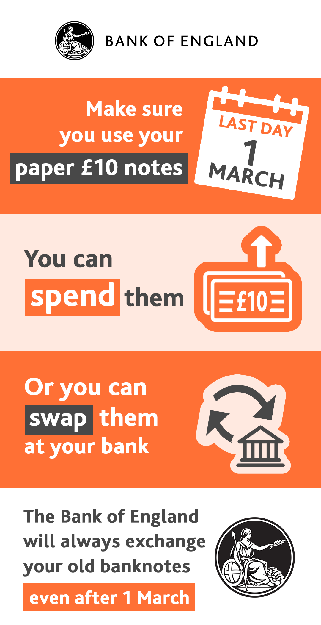Make sure you use your paper £10 notes by 1 March 2018