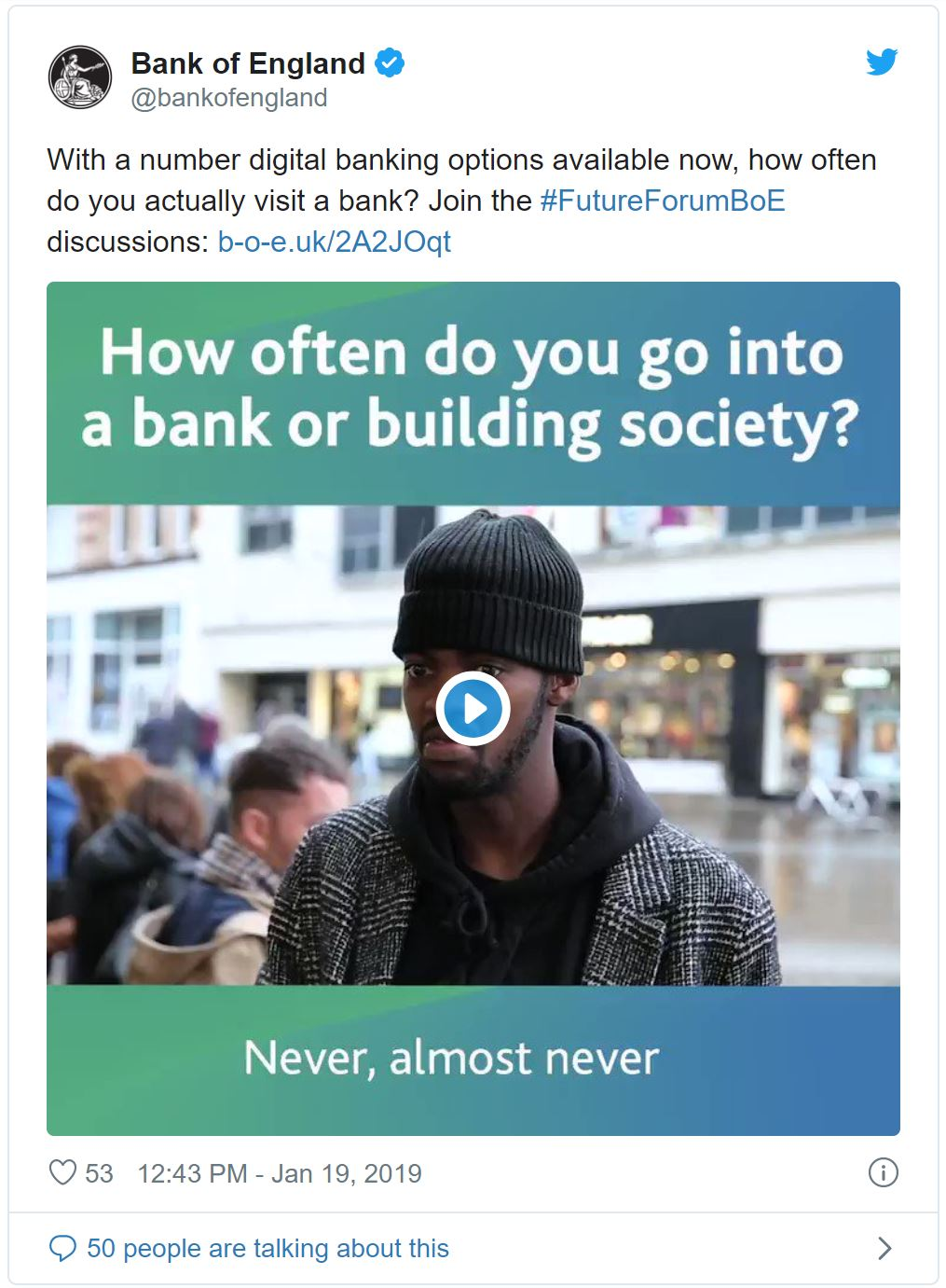 Tweet asking 'How often do you go into a bank or building society?'