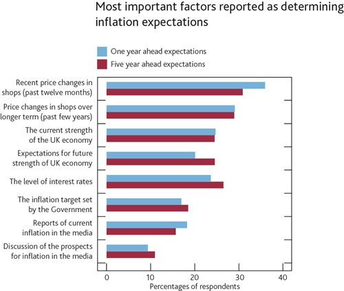 Most important factors reported as determining inflation expectations