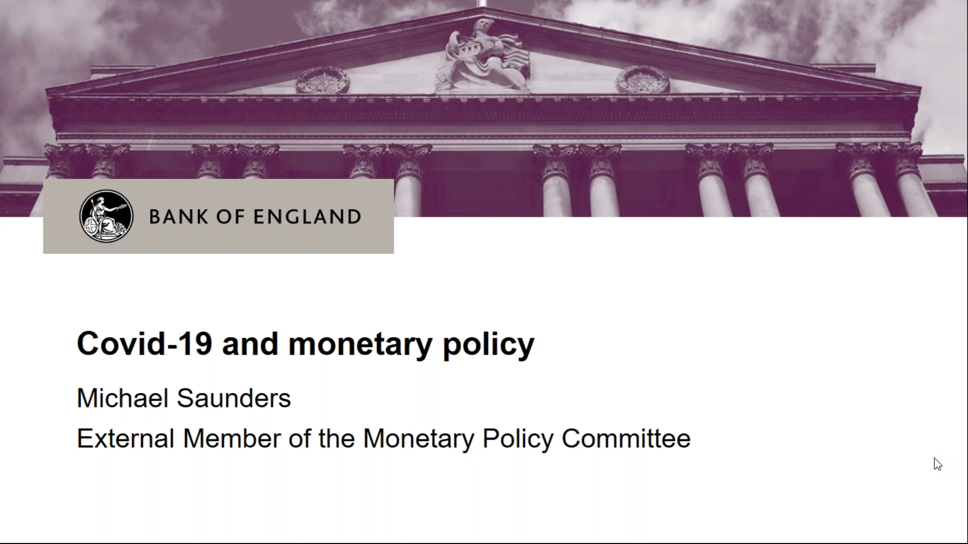 Covid19 and monetary policy - Michael Saunders speech